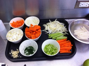 Pictures of the veggies we cut up