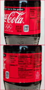 Coca-Cola 20 Ounce with Nutrition Facts