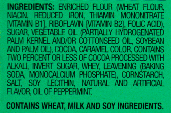 Cookies Ingredient List