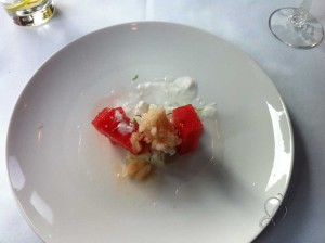 Lime Panna Cotta, Fresh watermelon, coco lime ice, canteloupe sorbet.