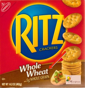 This label lets us know, in small letters, that the product has 5 grams of whole grain per serving.
