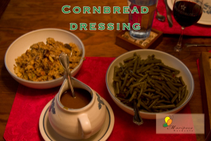 Cornbread dressing, gravy, and green beans