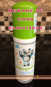 The hand sanitizer in this photo is fragrance-free and alcohol-free.